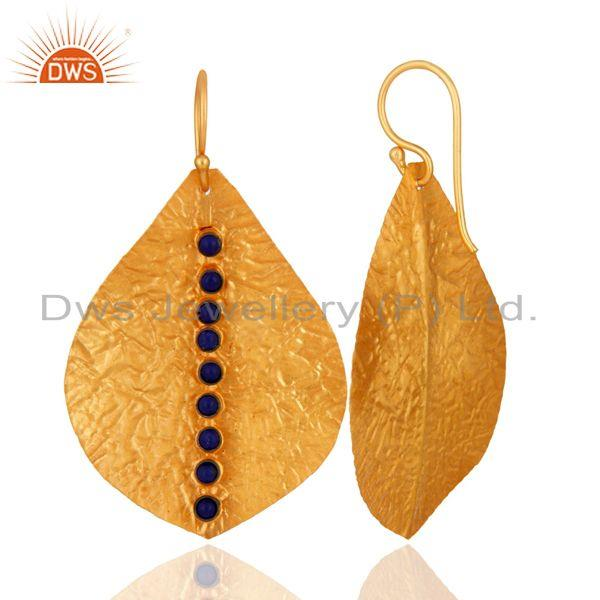 Suppliers 22K Gold Plated 925 Sterling Silver Lapis Lazuli Gemstone Dangle Earrings