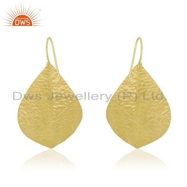 Suppliers Natural Pearl 925 Silver Gold Plated Leaf Design Earrings Manufacturer
