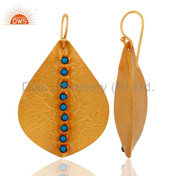 Suppliers Handmade 22K Gold Plated 925 Sterling Silver Turquoise Gemstone Dangle Earrings