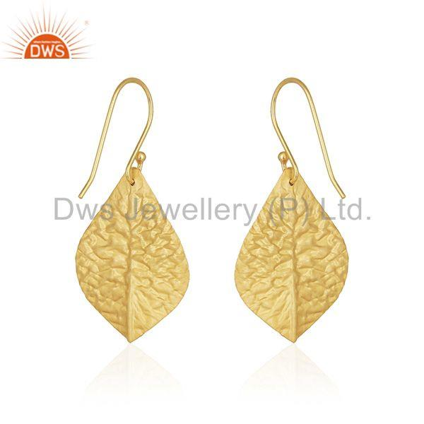 Suppliers Leaf Design Handmade Sterling Silver Gold Plated Gemstone Earring Wholesale