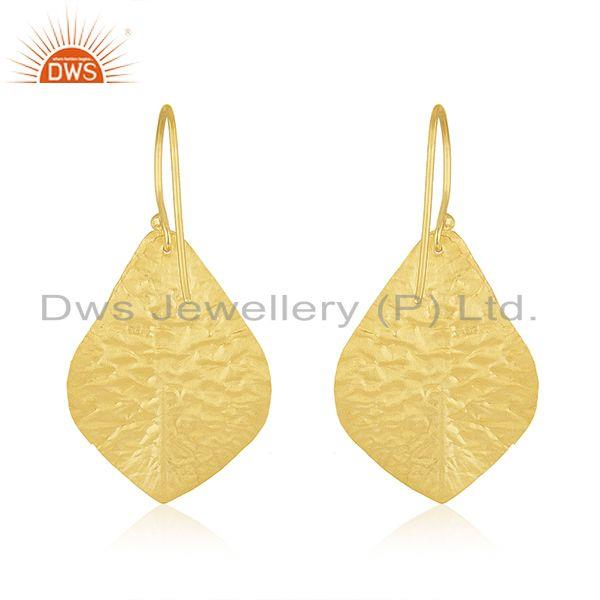 Suppliers Leaf Design Handmade Gold Plated 925 Silver Pearl Earring Wholesale