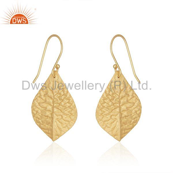 Suppliers Smoky Quartz Gemstone 925 Silver Gold Plated Handmade Earring Manufacturer India