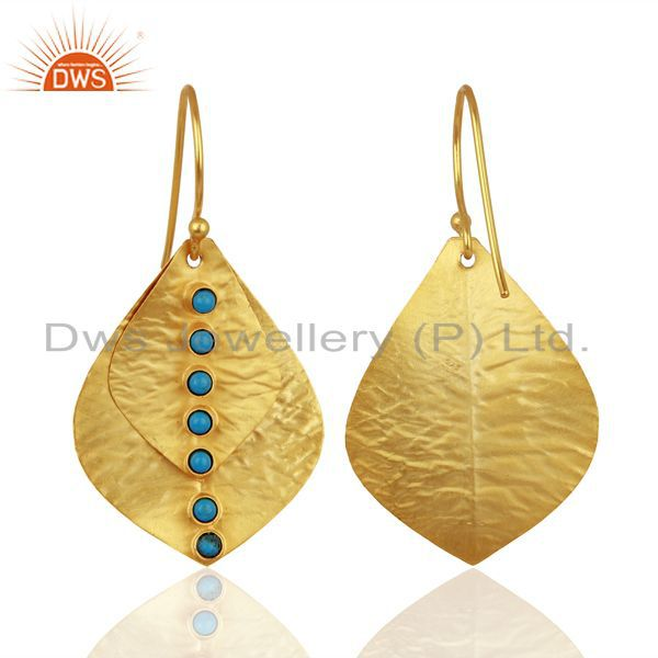 Suppliers 18K Yellow Gold Plated Sterling Silver Turquoise Hammered Petals Dangle Earrings