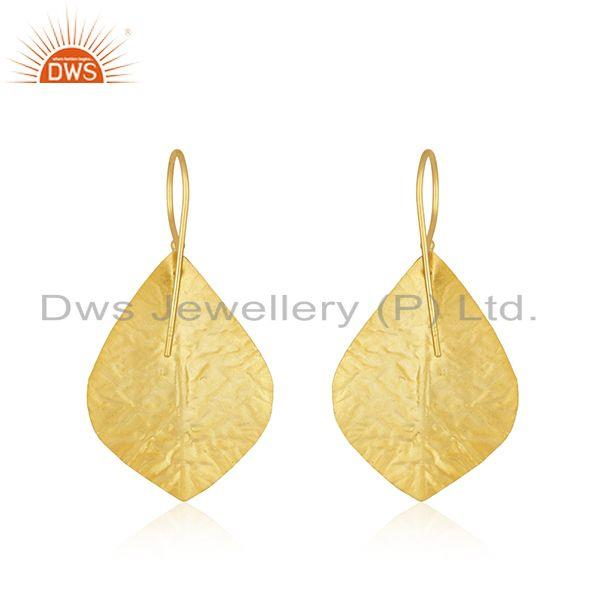 Suppliers Leaf Design Gold Plated Sterling Silver Green Onyx Gemstone Earrings