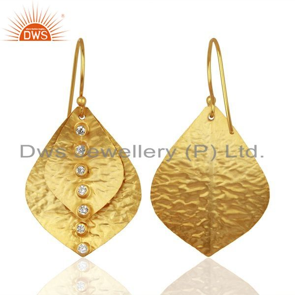 Suppliers Leaf Designer Gold Plated Silver CZ Earrings Wholesale Jewelry