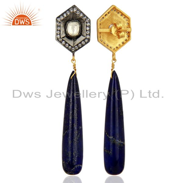 Suppliers 18K Yellow Gold Plated Sterling Silver Lapis Lazuli Smooth Drop Earrings With CZ