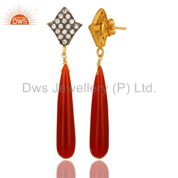 Suppliers 14K Yellow Gold Plated Sterling Silver Red Onyx Drop Dangle Earrings With CZ