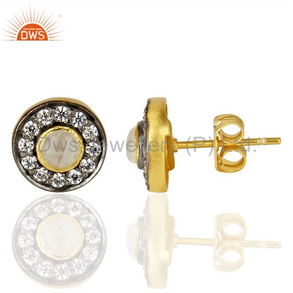Suppliers 18k Gold Plated Rainbow Moonstone And Zircon Stud Brass Earrings