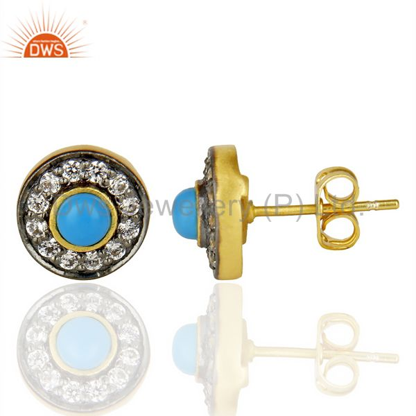 Suppliers 18K Yellow Gold Plated Turquoise And Zircon Halo Stud Brass Earrings