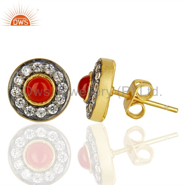 Suppliers 18K Yellow Gold Plated Red Onyx & White Zirconia Halo Stud Brass Earrings