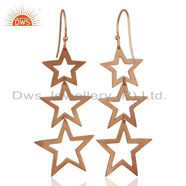 Suppliers Rose Gold Plated Star Designer Dangle Earrings Jewelry Manufacturer