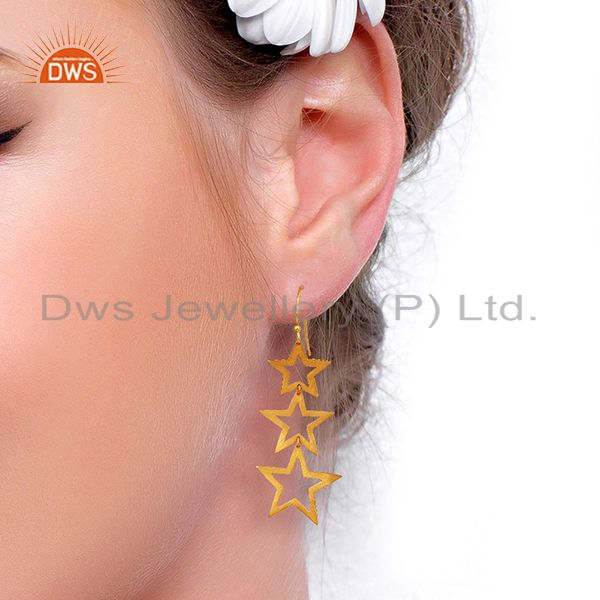 Suppliers 925 Sterling Silver Star Designs Handmade Dangle Earrings With 18K Gold Plated