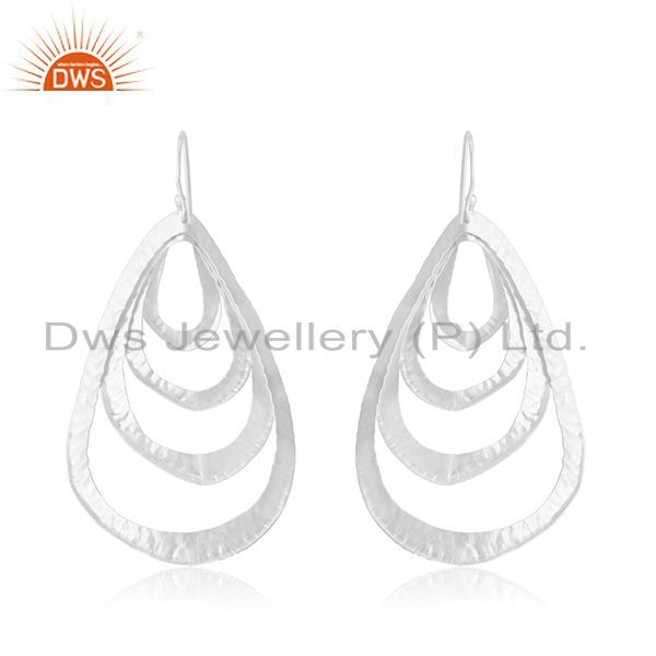 Suppliers Handmade 92.5 Sterling Silver Leaf Designer Earrings Manufacturer of Jewellery