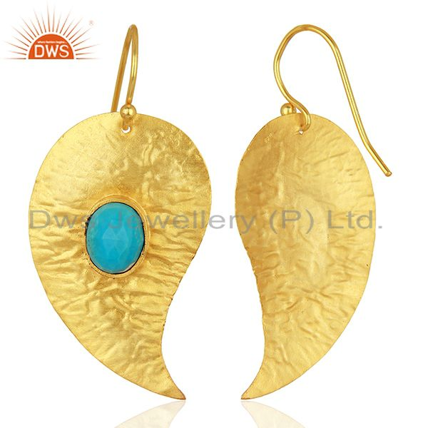 Suppliers Textured Gold Plated Silver Turquoise Gemstone Earrings Manufacturer