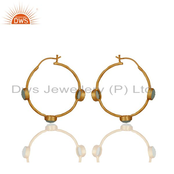 Suppliers Aqua Chalcedony Gemstone Gold Plated Brass Hoop Earrings Wholesale