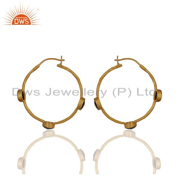 Suppliers Black Onyx Gemstone Gold Plated Brass Fashion Hoop Earrings Supplier