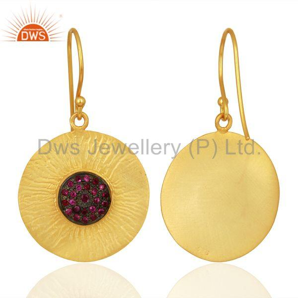 Suppliers Natural Ruby Gemstone Gold Plated 925 Silver Designer Earring Supplier