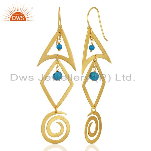 Suppliers 22K Yellow Gold Plated Sterling Silver Turquoise Brushed Finish Dangle Earrings