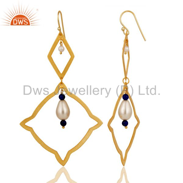 Suppliers Handmade 24k Gold Plated 925 Sterling Silver Natural Pearl Designer Earrings