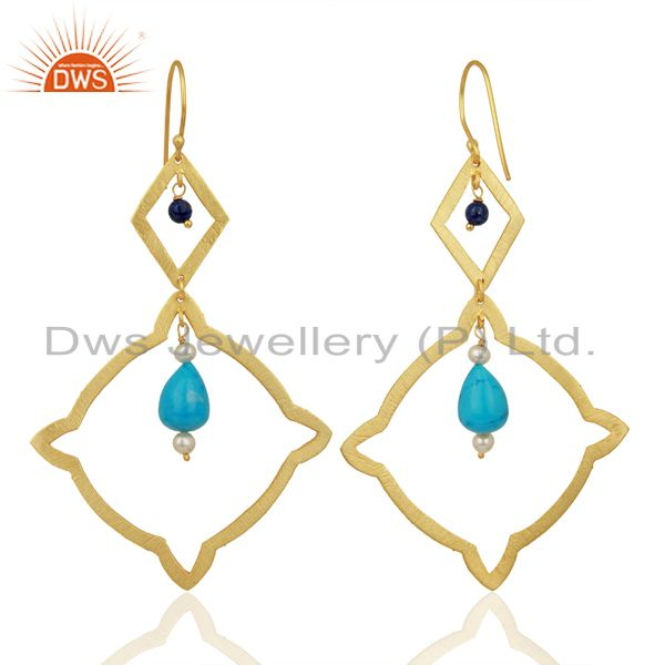 Suppliers Pearl Turquoise Long Dangle Boutique 14K Gold Plated 92.5 Silver Earring