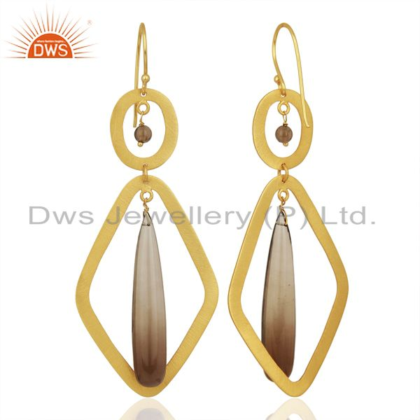 Suppliers Smoky Quartz Gemstone Gold Plated Fashion Earring Supplier
