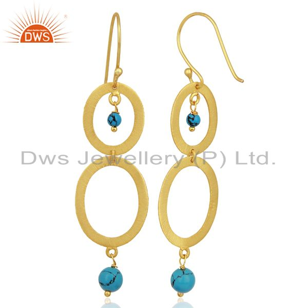 Suppliers Brushed 22K Yellow Gold Plated Sterling Silver Turquoise Gemstone Dangle Earring