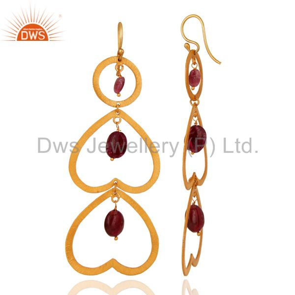 Suppliers Unique Designer Tourmaline Gemstone Gold Plated Over Sterling Silver 925 Earring