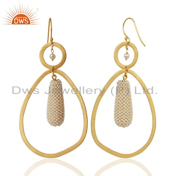 Suppliers Natural Pearl Gemstone Gold Plated 925 Silver Handmade Earrings