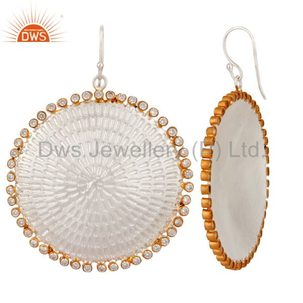 Suppliers Indian Handmade Textured Sterling Silver White Cubic Zirconia Designer Earrings