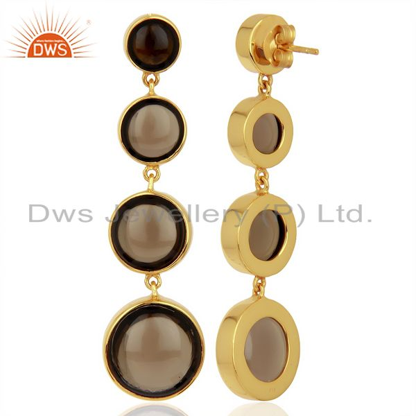 Suppliers Smoky Quartz Gemstone Long Dangle Gold Plated Wholesale Earrings