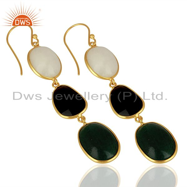 Suppliers 18K Yellow Gold Plated Sterling Silver Green Jade And Black Onyx Dangle Earrings
