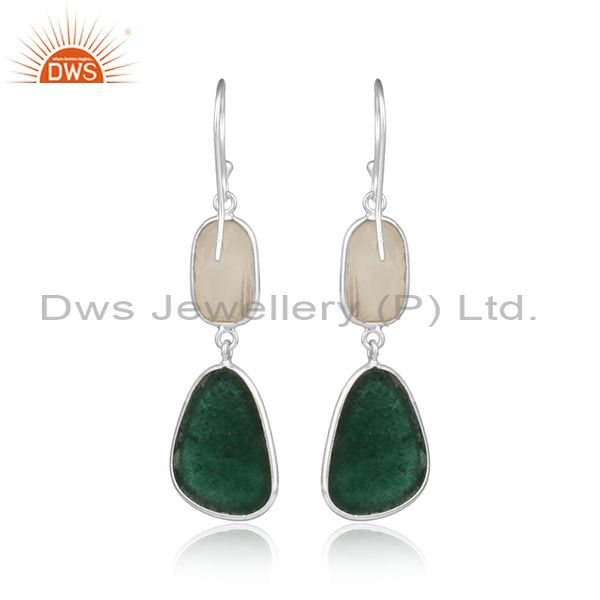 Designer of Handcrafted silver 925 dangle with white agate and green jade