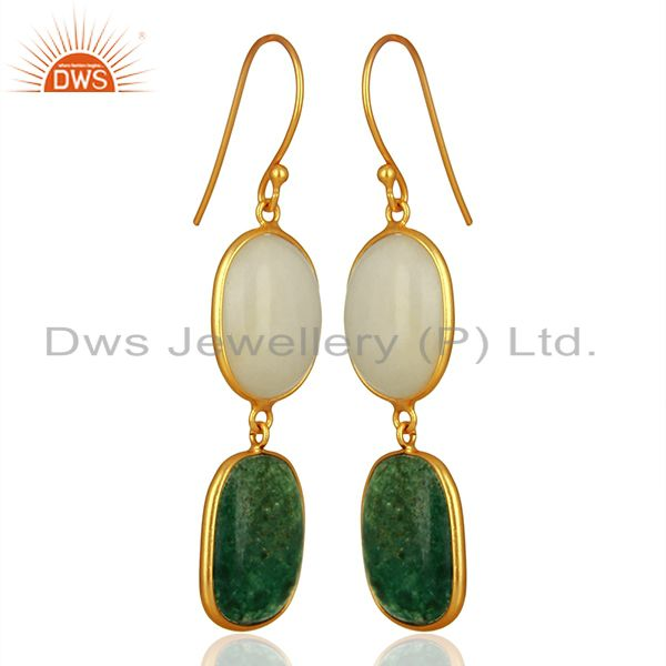 Suppliers 18K Gold Plated Sterling Silver White Agate And Green Jade Dangle Earrings