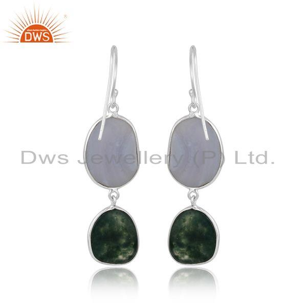 Designer of Handmade sterling silver dangle with blue lace and green moss agate