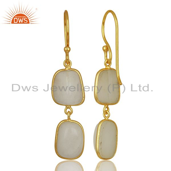 Suppliers 22K Yellow Gold Plated Brass White Agate Bezel Set Gemstone Dangle Earrings