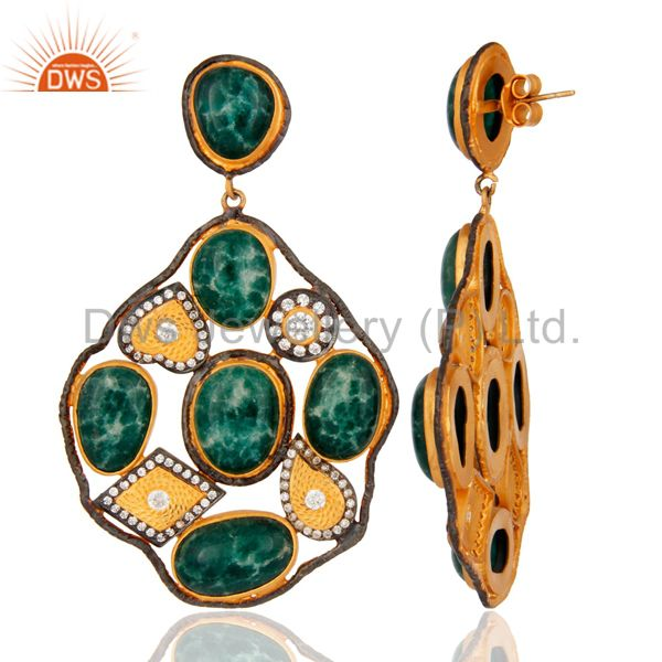 Suppliers Handmade Dyed Emerald Gemstone Sterling Silver Gold Plated Designer Look Earring