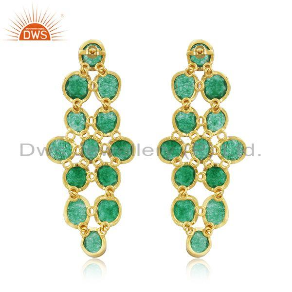 Suppliers Handmade Green Aventurine 22K Gold Plated Sterling Silver Dangle Earrings