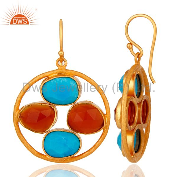 Suppliers 18K Gold Over Sterling Silver Handmade Turquoise & Carnelian Gemstone Earrings