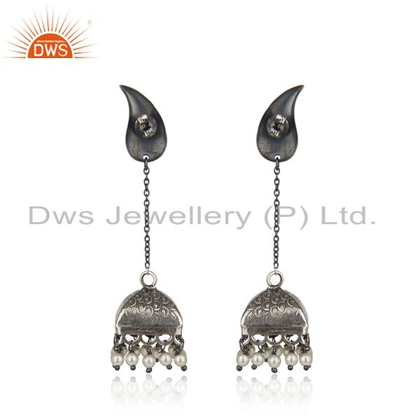 Suppliers Black Oxidized 925 Sterling Silver Pearl Beads Gemstone Jumka Earrings Jewelry