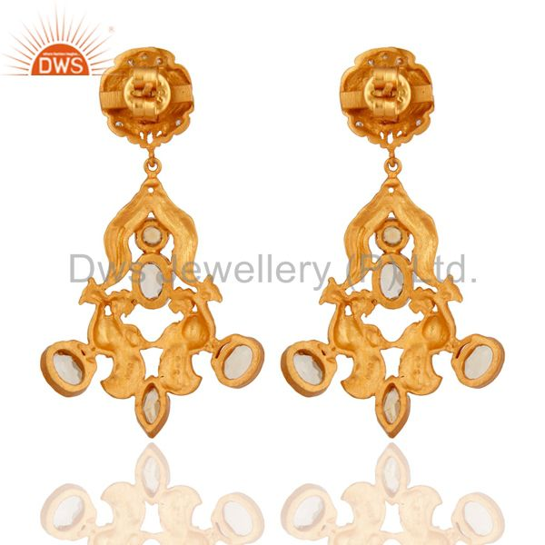 Suppliers Handmade 925 Sterling Silver Citrine Gemstone Designer Earrings 18k Gold Plated