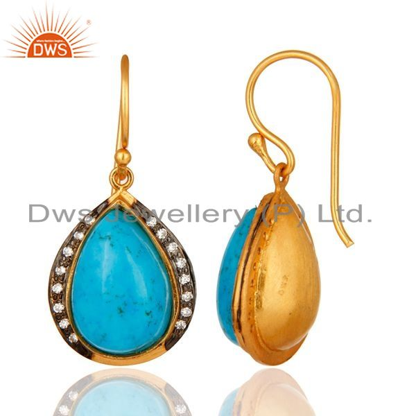 Suppliers 18K Yellow Gold Plated 925 Sterling Silver Turquoise Gemstone Teardrop Earrings