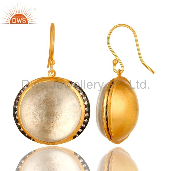Suppliers 18K Yellow Gold Plated Sterling Silver Crystal Quartz Dangle Earrings For Womens