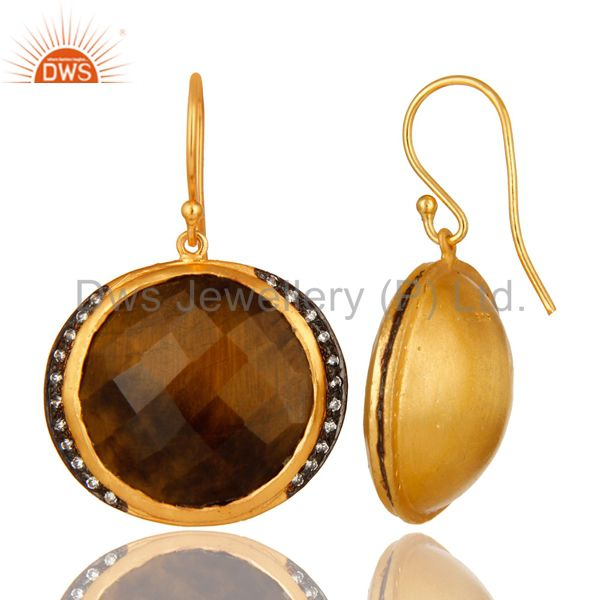 Suppliers 18K Yellow Gold Plated Sterling Silver Tiger Eye Gemstone Hook Earrings With CZ