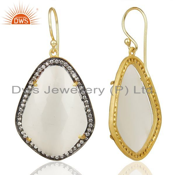 Suppliers 14K Gold Plated 925 Sterling Silver Moonstone White Zircon Drops Earrings