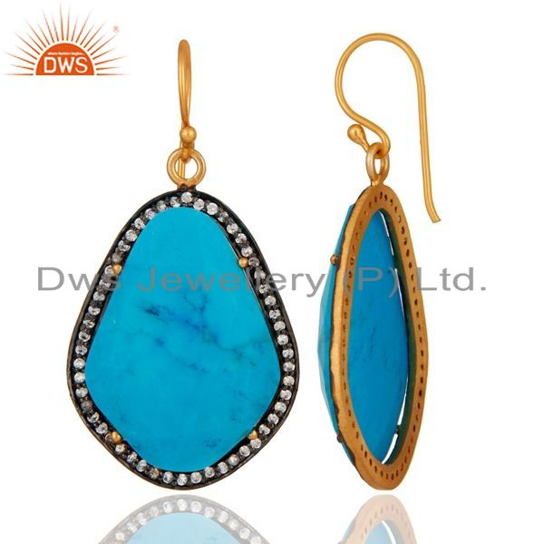 Suppliers Handmade Turquoise Gemstone Earrings Made in 18K Gold On Sterling Silver Jewelry