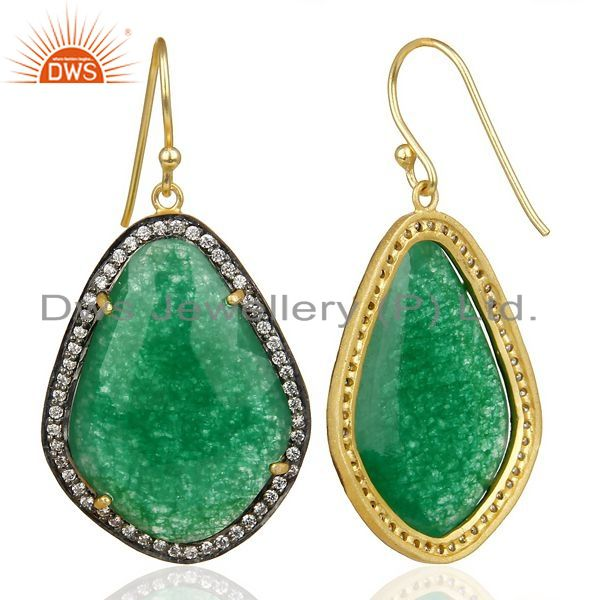 Suppliers 14K Gold Plated 925 Sterling Silver Green Aventurine White Zircon Drops Earring