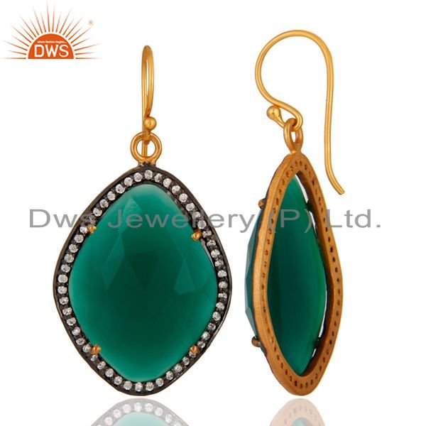 Suppliers 18K Gold Over Sterling Silver Green Onyx Gemstone & Pave White Zircon Earring