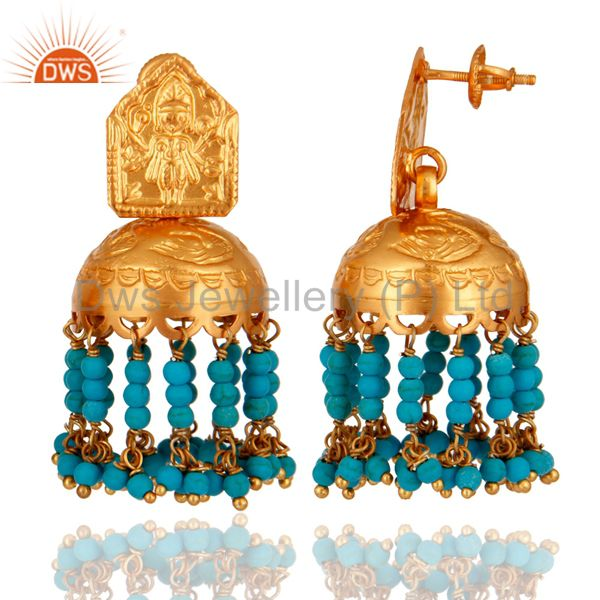 Suppliers Turquoise 925 Silver Gold Plated Traditional South Indian Fashion Jhumki Earring