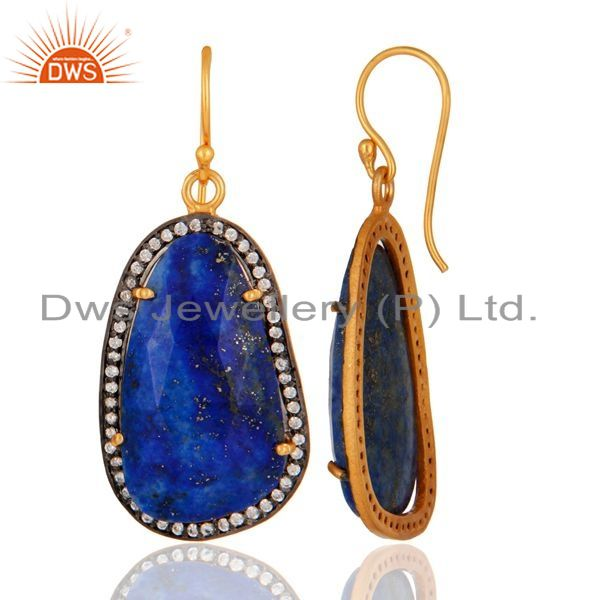 Suppliers Lapis Lazuli Gemstone Earring Made In 18k Gold Over 925 Sterling Silver Jewelry