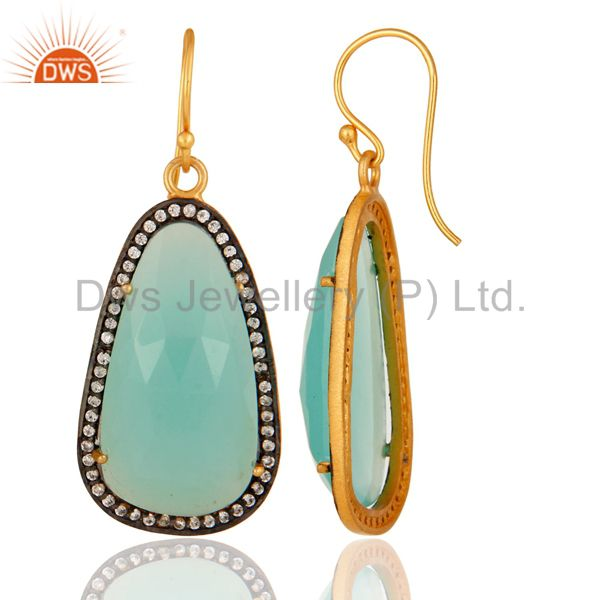 Suppliers 18K Yellow Gold Plated Sterling Silver CZ & Dyed Aqua Chalcedony Dangle Earrings